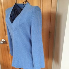 FINAL PRICE‼️Cashmere 3/4 Length Sleeve V- Neck, lightweight, blue cashmere sweater. Worn a few times but in EUC! Smoke free home. Also have it for sale in black and charcoal gray. Smoke free home ❌No trades, holds, or PayPal I'm Now On Instagram! @caligirlinmnposh Just Cashmere by Forte Sweaters
