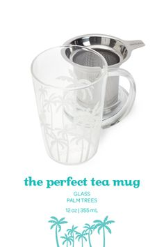SUMMER 2014 - A glass mug with lid and infuser, in a limited edition palm tree design. Davids Tea, Tree Designs, Dear Santa, Tea Mugs, Kitchen Tools, Summer 2014, Drinkware, Tea Time, Tea Party
