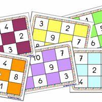 """Je continue à utiliser le super manuel Accès, voici donc le matériel pour la séquence """"Jeux de nombres"""" proposée en période 5. J'ai prévu 8 grilles de loto au lieu de 6 pour pouvoir jouer..."""