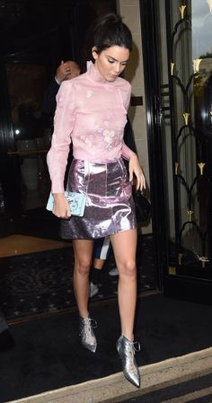 Kendall Jenner in a Metallic-Meets-Feminine Look - Vogue