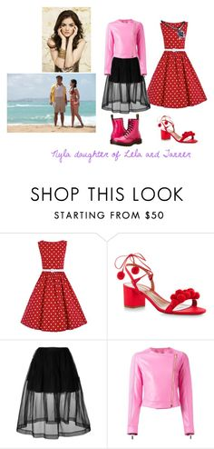 """""""Nyla daughter of Lela and Tanner"""" by damack on Polyvore featuring Aquazzura, Simone Rocha, Versace and Dr. Martens"""