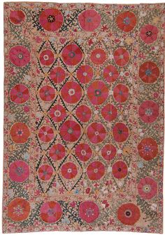 century Antique suzani from Uzbekistan. Pieces like this are associated with wedding customs and are among the most impressive examples of textile art. Textile Patterns, Textile Art, Color Patterns, Print Patterns, Ethnic Patterns, Stoff Design, Art Japonais, Motif Floral, Scrappy Quilts