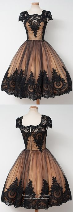 Short Homecoming Dresses Modest,Ball Gown Prom Dresses Lace,Vintage Prom Dresses Tulle,Tea-length Prom Dresses with Cap Sleeves Vintage Homecoming Dresses, Prom Dresses For Teens, Prom Dresses 2018, Lace Party Dresses, Ball Gowns Prom, Cheap Prom Dresses, Modest Dresses, Ball Dresses, Evening Dresses