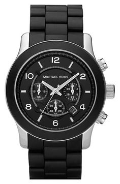 Michael Kors 'Large Runway Silicone Wrap' Watch, 46mm Black/ Black One Size
