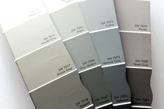 Picking the right gray paint - looking at paint in the room, checking the paint chips looking at the darkest and lightest hues to see the greatest variance.is the grey a shade of green, blue, purple, brown. Paint Color Combos, Grey Paint Colors, Colour Schemes, Gray Paint, Colour Palettes, Room Colors, House Colors, Colours, Grey Houses