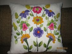 ru / Photo # 5 - Pillow with embroidery - Pillow Embroidery, Embroidery Flowers Pattern, Applique Embroidery Designs, Embroidery Art, Embroidery Stitches, Mexican Embroidery, Crochet Cushions, Small Quilts, Pillows