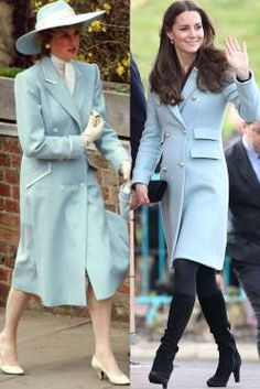 Diana in Catherine Walker at Easter services in April 1987; Kate wears a Matthew Williamson coat while visiting Pembroke Refinery in Pembroke, Wales, in November 2014.