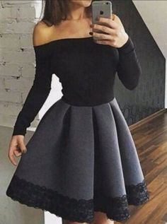 Elegant homecoming dresses,black homecoming dresses,long sleeve homecoming dress,short #Short Homecoming Dress#HomecomingDresses#Short PromDresses#Short CocktailDresses#HomecomingDresses