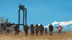 Sketch by ProxyGreen Future Soldier, Work Images, Fantasy Art Landscapes, Mechanical Design, Epic Art, Military Art, Sci Fi Art, Conceptual Art, Dieselpunk