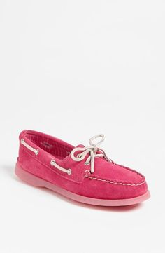 So cute! Pink Sperry Topsider boat shoes.