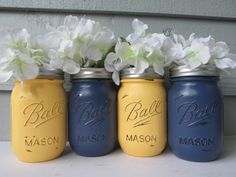 Painted and Distressed Ball Mason Jars Navy by Theretroredhead2, $28.00