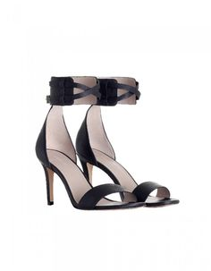 Buckled Cuff Heel, from our Fall 16 collection, in Black. Heeled sandal with cuffs and adjustable buckled straps, 9 cm leather covered heel..