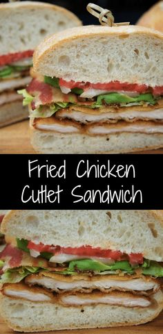 Fried chicken cutlet sandwiches - perfectly seasoned chicken cutlets are breaded and fried until golden and crispy. Then they are layered on ciabatta bread and topped with crispy bacon, lettuce, tomato, onions and avocado slices. Vegetarian Sandwich Recipes, Meat Recipes, Cooking Recipes, Turkey Recipes, Healthy Recipes, Chicken Cutlet Recipes, Breaded Chicken Cutlets, Bacon Sandwich, Fried Chicken Sandwich