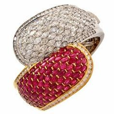 Cluster Ruby Diamond Two Color Gold Bangle Cuff Bracelet 1