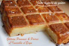 Une recette qui a fait le tour des blogs et c'est normal car elle est vraiment très bonne et assez légère!!! Un gâteau aux fruits qui vient d' Eryn , ce duo de pommes et de poires fondantes est très agréable, le rendu est joli car les morceaux s'égalisent... Cupcakes, Coco, Sweet Recipes, Tapas, Biscuits, Breakfast Recipes, Bakery, Deserts, Food And Drink