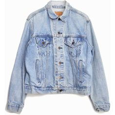 Vintage Levi's Denim Jean Jacket in Faded Light Wash ($68) ❤ liked on Polyvore featuring outerwear, jackets, collar jacket, 80s jean jacket, levi jacket, 80s jackets и vintage jean jacket