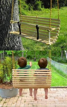 Balanços: diferentes modelos para o pequeno se divertir! Kids Yard, Backyard For Kids, Backyard Projects, Outdoor Projects, Diy For Kids, Backyard Ideas, Weekend Projects, Diy Playground, Outdoor Fun