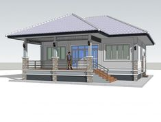 One Storey Elevated House Concept with 2 Bedrooms - Pinoy House Plans Bungalow House Design, Bungalow House Plans, House Layout Plans, House Layouts, Philippines House Design, One Storey House, Affordable House Plans, Philippine Houses, Coastal House Plans