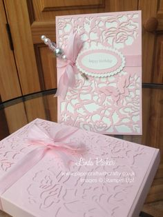 Detailed Floral Thinlits Dies, Stampin Up. Card, co-ordinating box and handcrafted Hat Pin. http://www.papercraftwithcrafty.co.uk/2016/08/pretty-in-pink-with-co-ordinating.html
