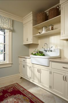 Country #laundry sink in a #greige #laundryroom
