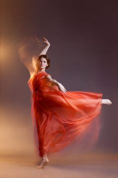 Dancing girl in red dress