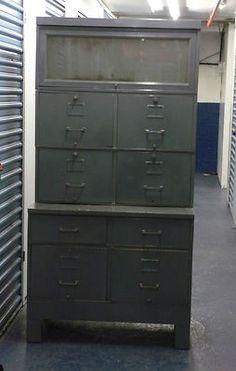 Vtg Machine Age Gf Allsteel Steel Metal Barrister Bookcase Desk File Cabinet