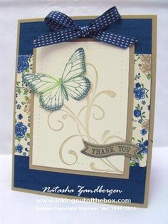 Stamps- Best of Butterflies, Everything Eleanor, Itty Bitty Banners, En Francais     Ink & Paper – Crumb Cake, Midnight Muse, Very Vanilla, Print Poetry DSP, Gumball Green (ink only)     Accessories – Big Shot & Bitty Banners framelits, piercing tools, stitched satin ribbon