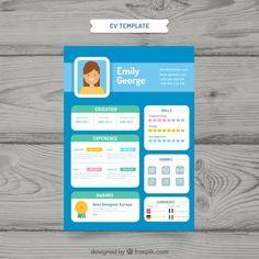 Modern curriculum template with flat design Free Vector