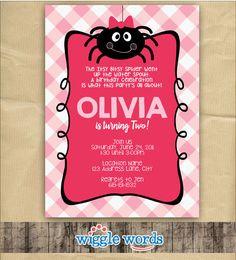Itsy Bitsy Spider Invitation Girl Birthday Party by WiggleWords