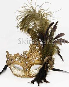 Venetian Mask Crystals Bronze Masquerade Ball Fancy Dress Costume Feather Prom | eBay