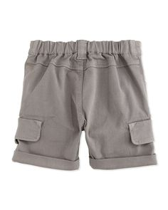 Rolled-Cuff Cargo Shorts, Gray, Size 2-6