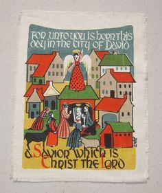 Vintage CHRISTMAS Textile Bible Passage A by unclebunkstrunk