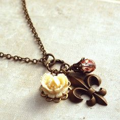 Fleur de Lis Rose Necklace Pendant Necklace Paris by HeatherBerry, $24.50