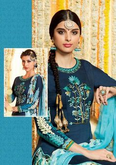 """Midnight blue patiala/palazzo kameez with dupatta. Fabric - Cotton satin. Work - Floral embroidery. Kindly note bottom can be either be stitched as """"Patiala"""" or"""