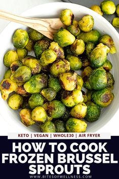 Make frozen brussel sprouts taste amazing with these super simple cooking techniques! Use the air fryer or the oven to make the perfect roasted frozen brussel sprouts! No cutting or prep required! Pair with your favorite protein for a simple meal!