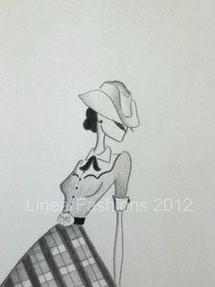 Fashion Art Illustration 1950s Cowgirl by LinearFashions, $32.00.