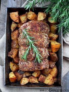 Pieczony schab z ziemniakami na ostro