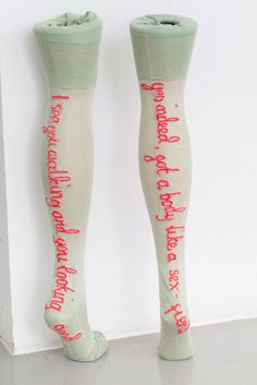"""gaspingatglimpses: """" Zoë Buckman I See You Walking, 2014, Embroidery on vintage lingerie """""""