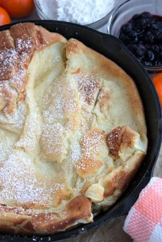 **Used a homemade lemon syrup** German Pancakes - was introduced to these in Canada this summer, definitely going to have to make this. The lemon and powdered sugar is definitely my fave! What's For Breakfast, Breakfast Dishes, Breakfast Recipes, Breakfast Skillet, German Pancakes Recipe, Pancakes And Waffles, Applesauce Pancakes, Baked Pancakes, Buttermilk Pancakes