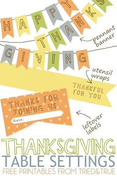 Thanksgiving Table Settings Free Printables