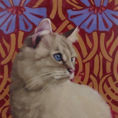 """Daily Paintworks - """"Sapphire a new cat painting by..."""" by Diane Hoeptner"""
