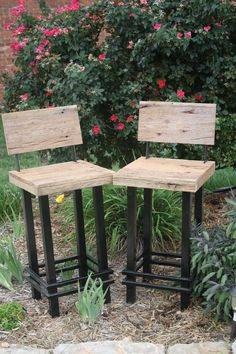 "Your Custom Made 28""-30"" Rustic And Reclaimed Barn Wood And Metal Bar Stool With…"