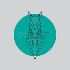 horse geometric: Horse head geometric lines silhouette isolated on gray and green background. Vector design element illustration. Vectores