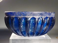 Roman ribbed blue glass bowl, late 1st century BC – mid 1st century AD.