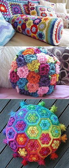 43 Super ideas for crochet granny square bag african flowers Crochet Pillow Pattern, Crochet Cushions, Crochet Patterns, Knitted Pillows, Love Crochet, Crochet Gifts, Crochet Flowers, Diy Crochet, Crochet Ideas