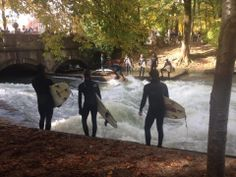 Isar River surfers, Munich, Germany