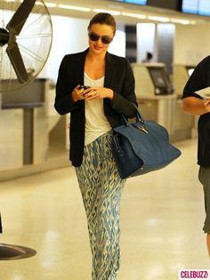 Miranda Kerr - the only way to land at JFK - in silk pajama pants