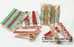 2016  Christmas Boutique 2016: Everything Clips  Used current DSP (and Glimmer paper) to make these cute clothespin clip packages…I glued the paper on using Mod Podge.