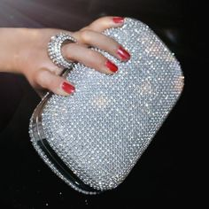 SEKUSA Evening Clutch Bags Diamond-Studded Evening Bag With Chain Shoulder Bag Women& Handbags Wallets Evening Bag For Wedding Studded Clutch, Silver Clutch, Bag Women, Wedding Bag, Chain Shoulder Bag, Shoulder Handbags, Shoulder Bags, Diamond Studs, Clutch Purse