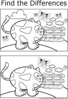 The two scenes of a cat and butterflies depicted in this printable coloring page have several key differences that can be found. Letter B Activities, English Activities, Preschool Activities, Colouring Pages, Printable Coloring Pages, Coloring Books, Kindergarten Worksheets, Worksheets For Kids, Teaching Kids